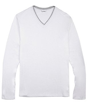 Calvin Klein Long-Sleeve V-Neck Rib Knit Top