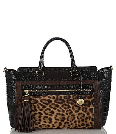 Brahmin Camel Leopard Colorblock Collection Anna Satchel