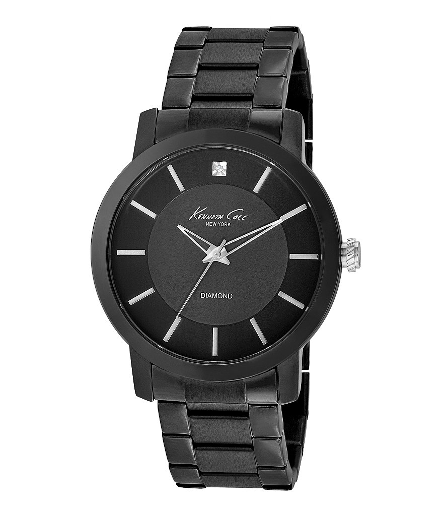 Kenneth Cole New York Rock Out Iconic 3 Hand Stainless Steel Bracelet Watch