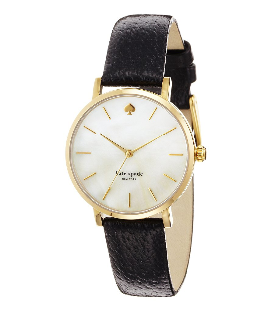 kate spade new york Metro Mother of Pearl Round Black Leather Strap Watch