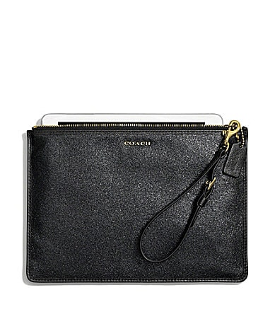 COACH FLAT ZIP CASE IN GLITTER FABRIC
