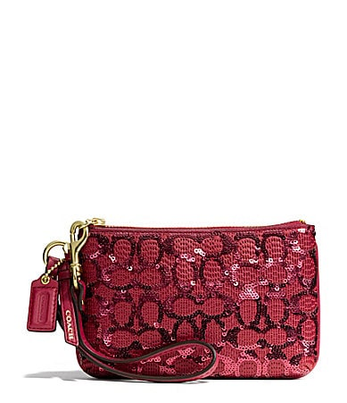 COACH SMALL WRISTLET IN SEQUIN SIGNATURE C FABRIC