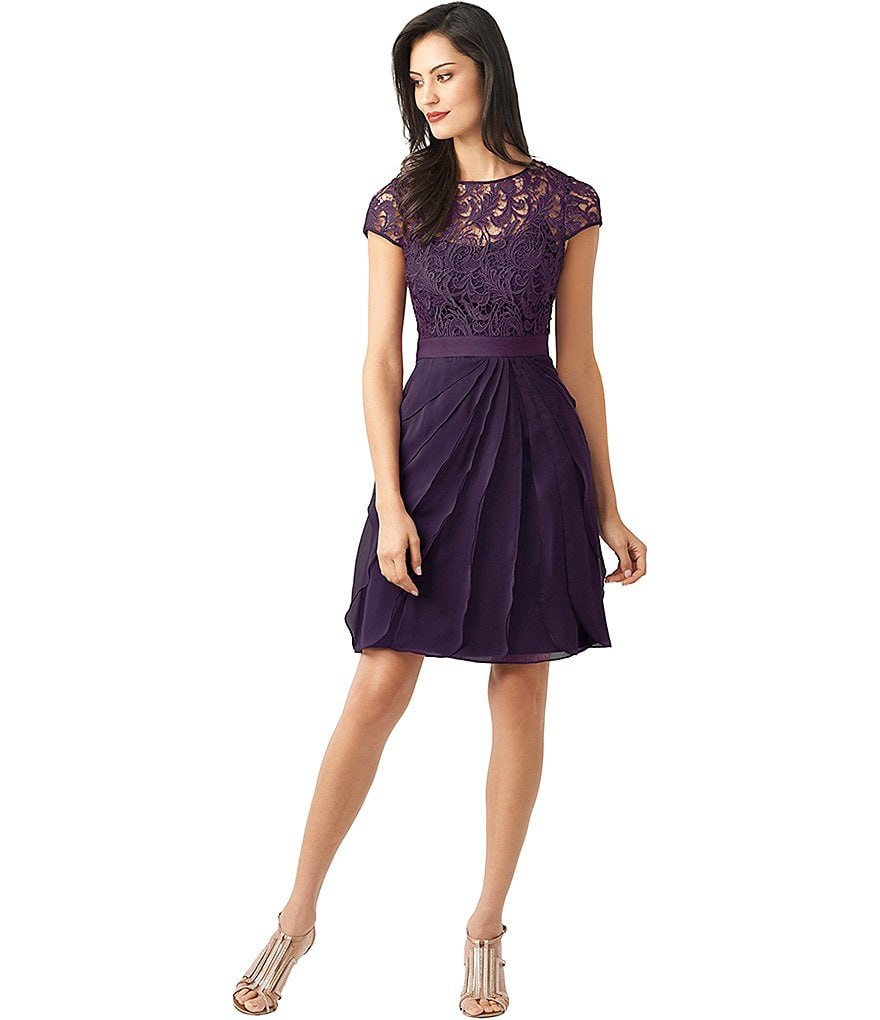 Adrianna Papell Short Lace-Bodice Flutter Dress