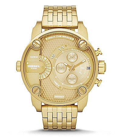 diesel goldtone little daddy multifunction watch. Black Bedroom Furniture Sets. Home Design Ideas