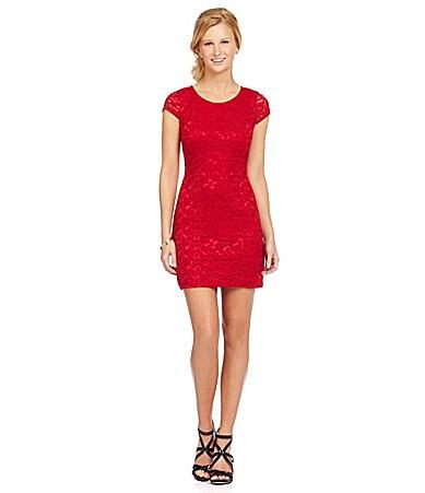 As u wish cap sleeve lace sheath dress dillards com
