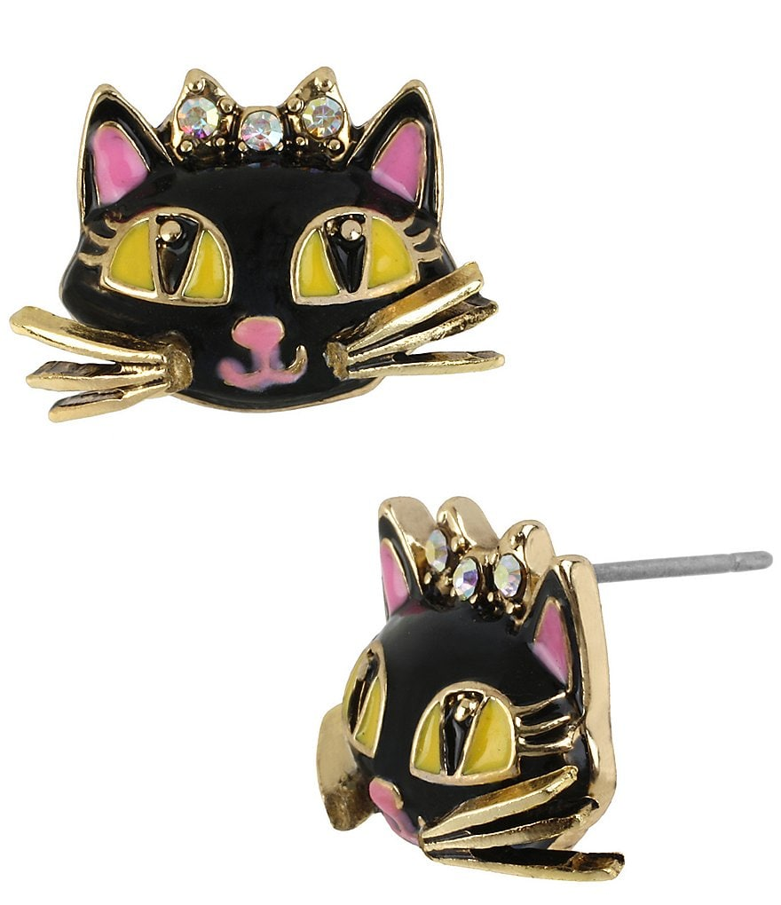 Betsey Johnson Cat Stud Earrings