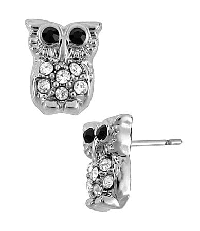 Betsey Johnson Crystal Owl Stud Earrings
