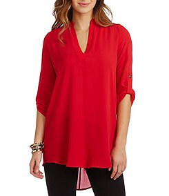 GB Woven Split-Neck Tunic Blouse