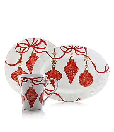 Excellence opulent ornaments red accent dinnerware dillards com