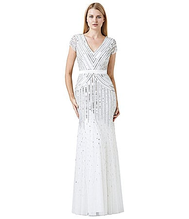 Adrianna Papell Cap-Sleeve Beaded Gown