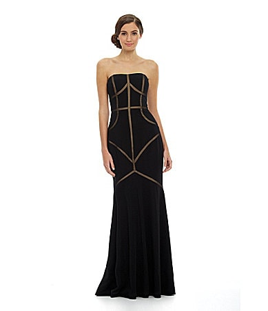 JS Collections Ottoman Illusion Cutout Gown