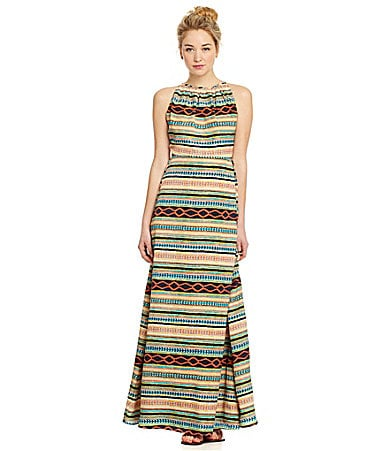 MM Couture Tribal Open-Back Maxi Dress