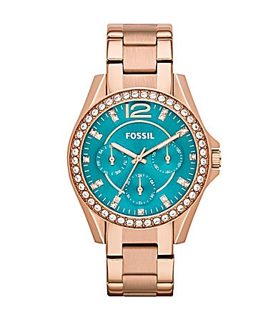 Fossil riley rose goldtone watch with turquoise dial dillards com