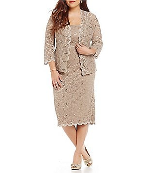 Alex Evenings Plus Sequined Lace Tea-Length Jacket Dress