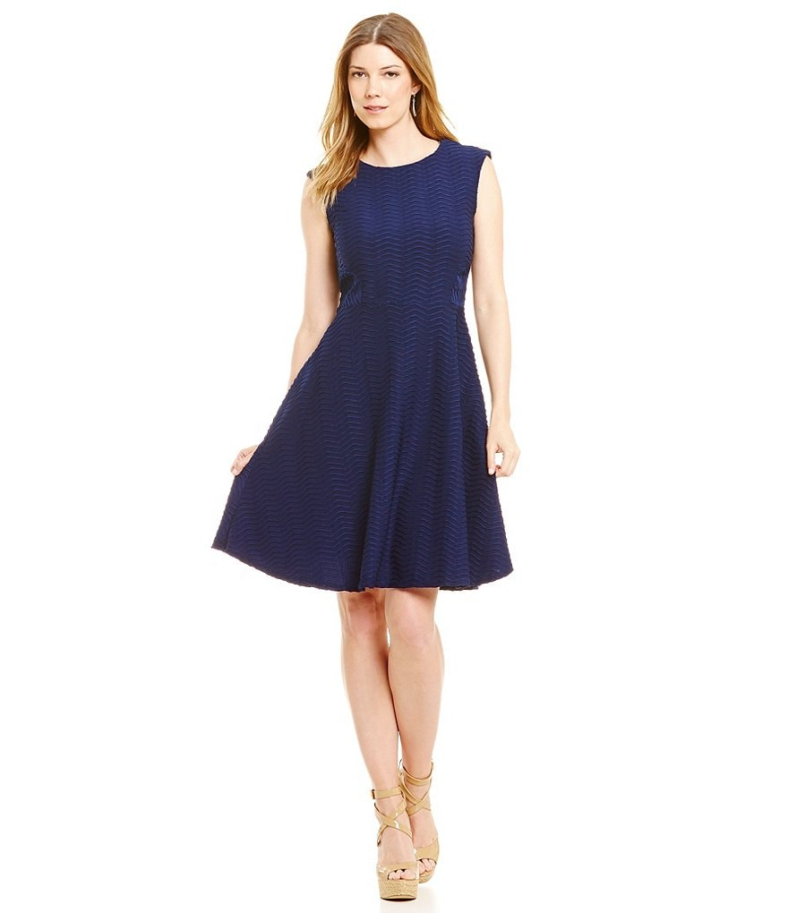 Leslie Fay Wavy Knit Fit-and-Flare Dress