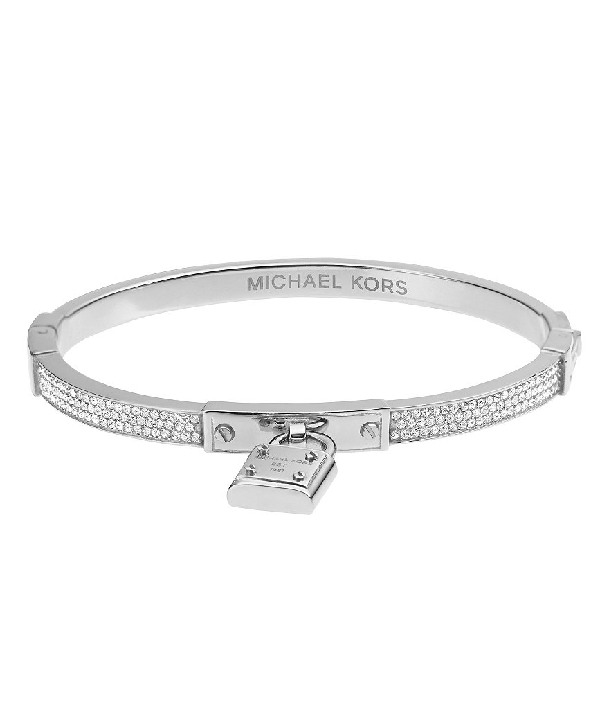 Michael Kors Pavé Padlock Hinge Bangle with Signature MK Padlock Charm