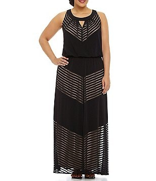 London Times Plus Shadow-Striped Maxi Keyhole Neck Dress