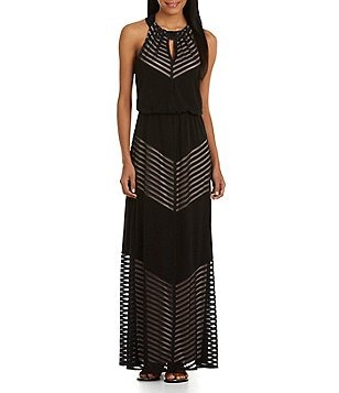 London Times Shadow-Striped Maxi Dress