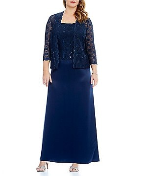 Alex Evenings Plus Lace & Charmeuse Jacket Dress