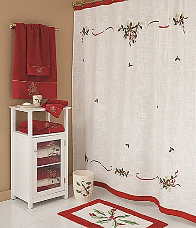 lenox holiday embroidered shower curtain