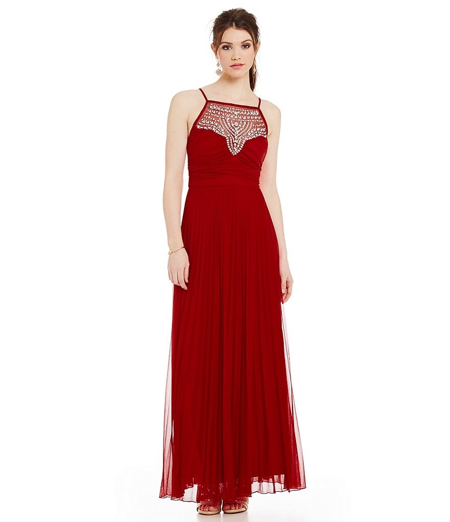 B. Darlin Jewel High-Neckline Pleated Gown