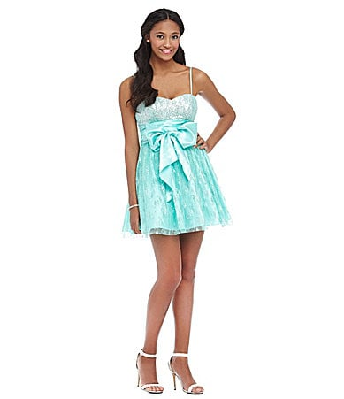 B. Darlin Spaghetti-Strap Sequin Lace Party Dress $ 99.00