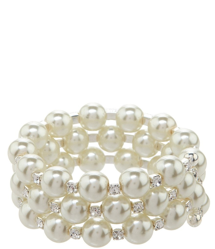 Cezanne Large Coil Rhinestone and Pearl Bracelet