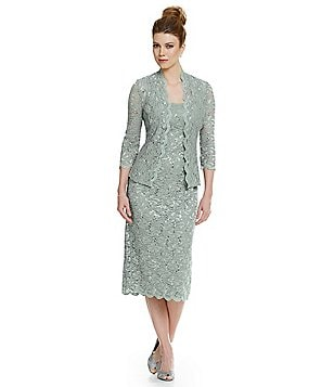Alex Evenings Petite Sequined Lace Jacket Dress