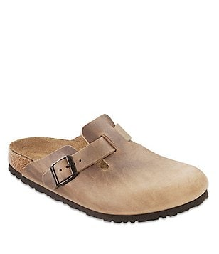 Birkenstock Boston Leather Round Toe Slip On Casual Clogs