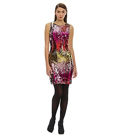 Belle Badgley Mischka Sequined Sheath Dress
