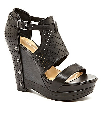 Gianni Bini Jaynie Perforated Wedge Sandals
