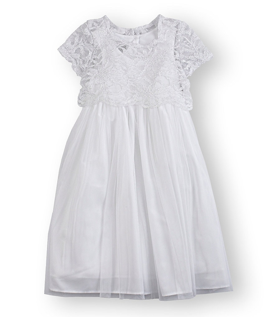 Pippa & Julie 2T-6X Lace-Bodice Tulle-Overlay-Skirt Dress