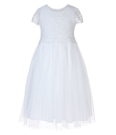 Pippa & Julie 7-10 Lace-Bodice Tulle-Overlay-Skirt Dress