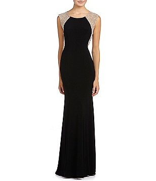 Xscape Beaded-Back Gown
