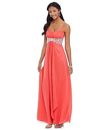 B. Darlin Spaghetti-Strap Beaded Gown $ 59.40