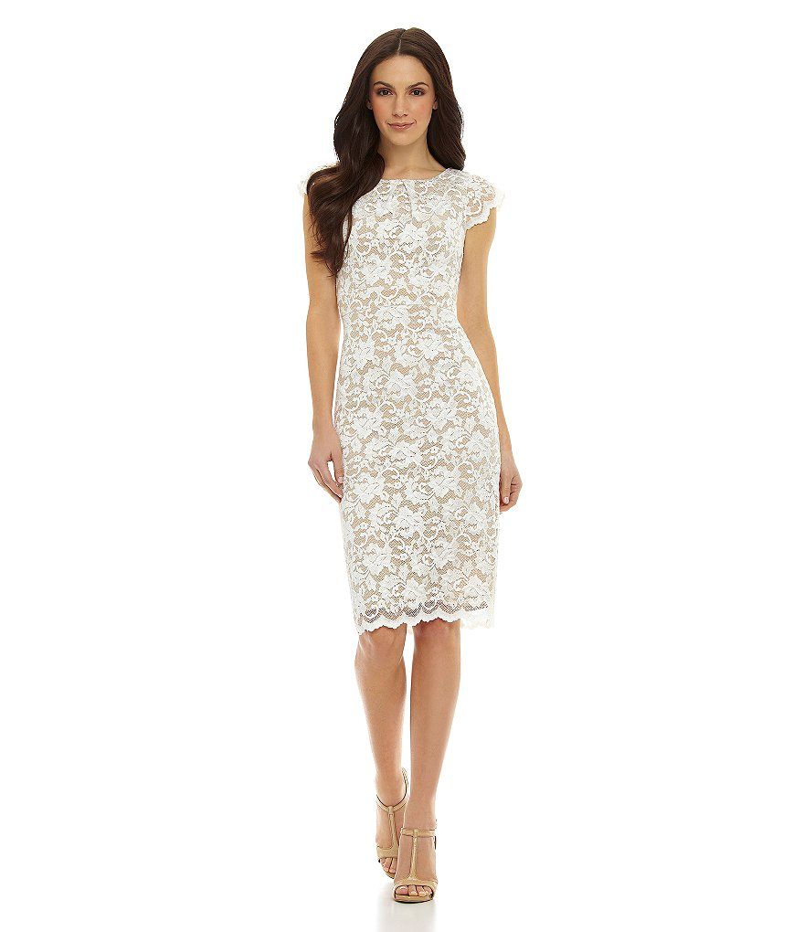 ABS by Allen Schwartz Cap-Sleeve Lace Sheath Midi Dress
