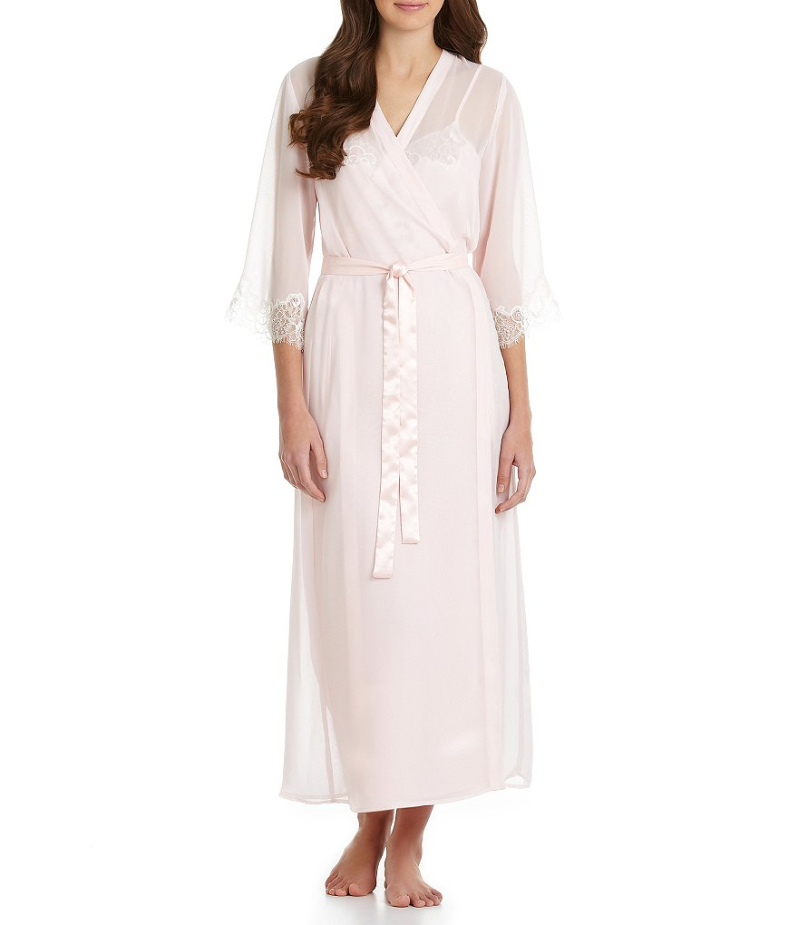 Oscar de la Renta Pink Label Lavish Lace Long Robe