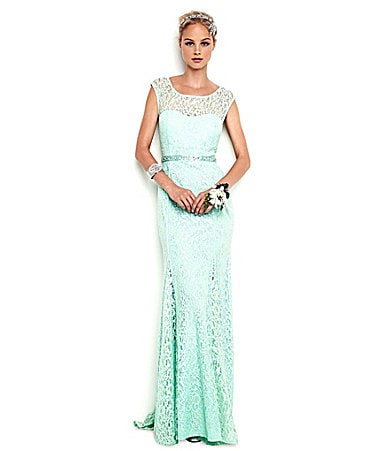 Sale alerts for  Sequin Hearts Cap-Sleeve Lace Gown - Covvet