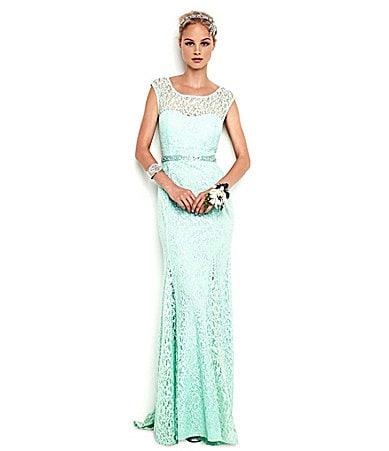 Sale alerts for  Sequin Hearts Cap-Sleeve Lace Gown - Covvet