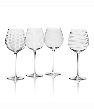 Mikasa Cheers Striped, Swirled & Dotted White Wine Glasses, Set of 4