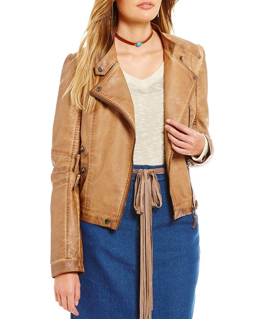 Blu Pepper Faux-Leather Moto Jacket