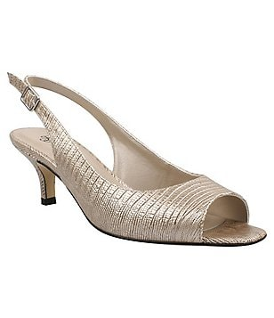 J. Renee Classie Metallic Lizard Print Peep-Toe Pumps