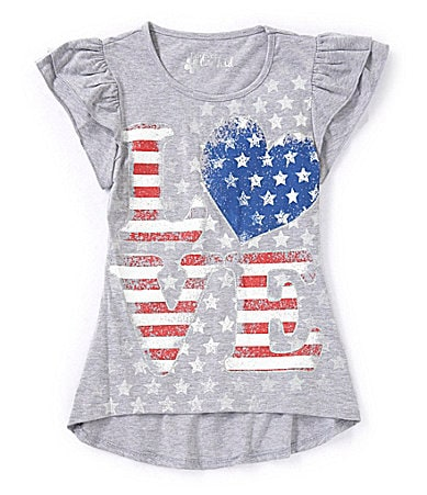 Forever Orchid 7-16 Love Flag Ruffle Shirt $ 14.99