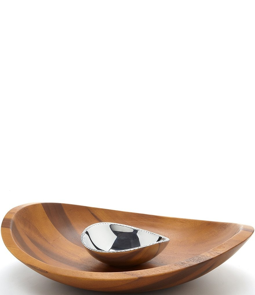 Nambe Braid Acacia Wood Chip & Dip Server