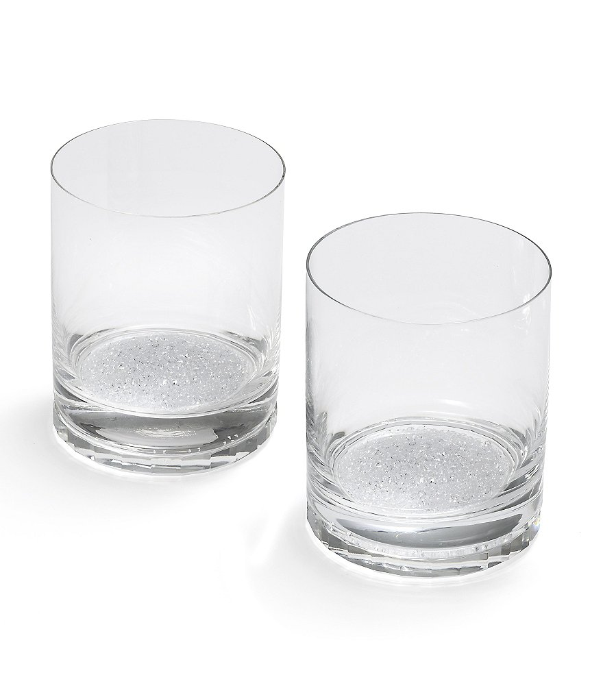 Oleg Cassini Crystal Diamond Double Old Fashioned Glass Pair