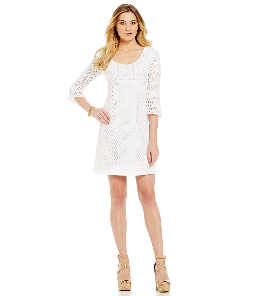 Leslie Fay 3/4 Sleeve Eyelet Lace Shift Dress