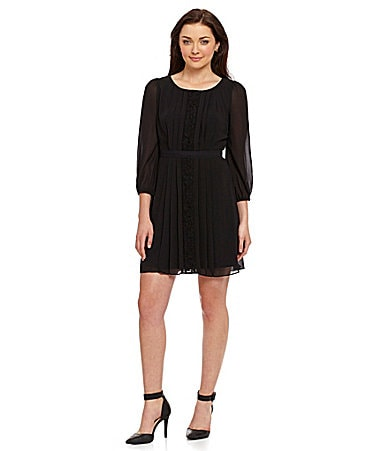 Jessica Simpson Pleated Lace-Panel Fit-and-Flare Dress