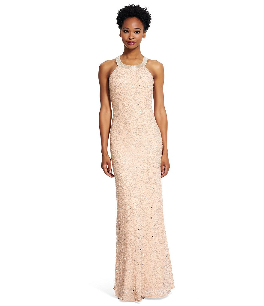 Adrianna Papell Petite Beaded Sheer-Back Halter Gown