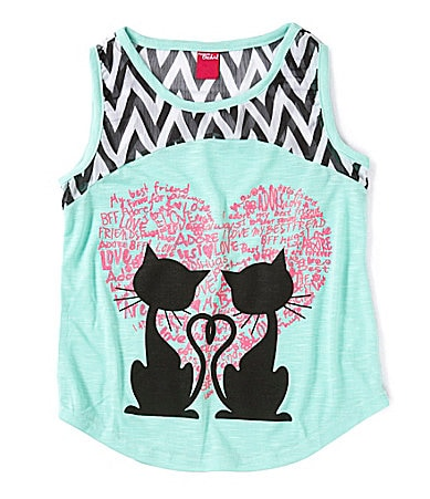 Forever Orchid 2 Cats Love Chevron Chiffon Shirt $ 18.00