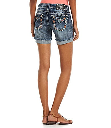 Miss Me Mid-Length Denim Shorts